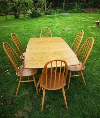 Ercol Windsor Ash Extending Dining Table & Six Quaker Chairs