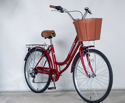 "Sale 26"" 6 Spd Lady Town Dutch Bike & Basket & Bell 5Year Warranty Birthday Gift"