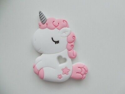 Unicorn Chewable Teething Toy Baby Toddler Silicone Teether white and pink