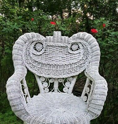 "Vintage Rocking Chair White Wicker Rocking Chair 24"" High Childs Rocking Chair"