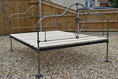 Burnished Antique Victorian 4ft 6in double iron Bedstead & new slatted bed base