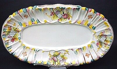 """XL Large 26"""" Serving Scalloped Platter Tray Pottery Ceramic Hand Painted Italy"""