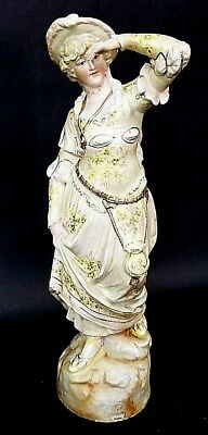 """17"""" Antique Continental 1891 Porcelain Victorian Woman Figurine Hand Painted"""