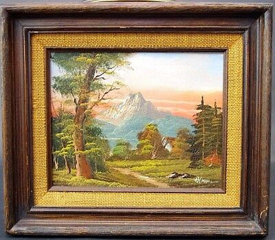 Vtg Mid Century Signed Almon Landscape Alps European Oil Painting on Board