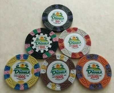 6 Dunes Hotel & Country Club Casino Chips ~ Commemorative ~ Las Vegas, Nevada!