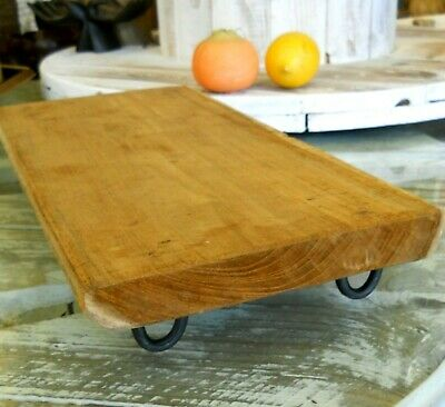 Wooden Craft Piece of board on metal legs New Decoration 40 cm x 20 cm /1.8 kg