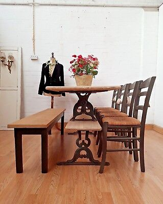 Striking Antique Stripped Pine & Cast Iron Industrial School Table - C1880