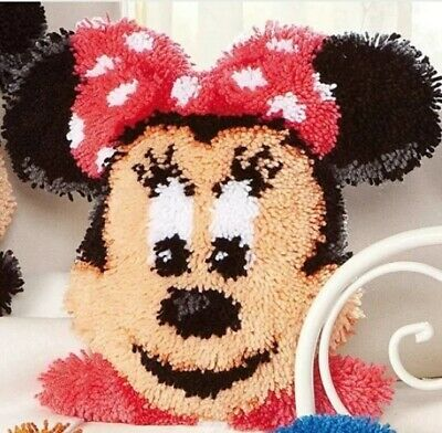 DIY Disney's Minnie Mouse Make your own Cushion cover Latch Hook Craft yarn girl