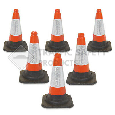 """PACK OF 6 Road Traffic cones 18"""" (500mm) Self weighted Safety Heavy Duty !!"""