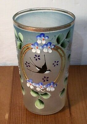 Antique Bohemian Glass Tumbler, Hand Painted Swallow & Flowers