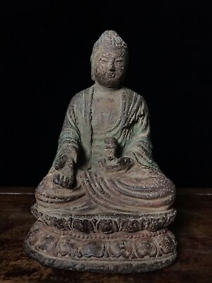 "6"" Chinese antique aloeswood wooden handcarved Sitting Buddha statue B1"