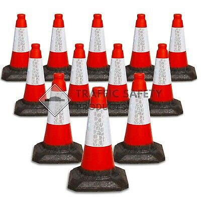 "PACK OF 12  Road Traffic cones 18"" (500mm) Self weighted Safety Heavy Duty !!"