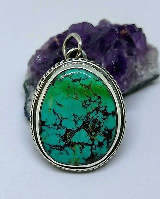 Handcrafted Sterling Silver Collectors Grade Turquoise Pendant Eclipsed USA MADE