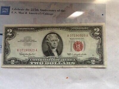 1963 Two Dollar Bill Red Seal, Free Shipping!