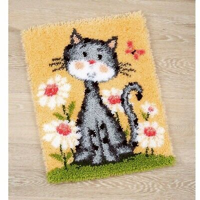 Cat With Flowers Latch Hook Rug Kit, Brand New