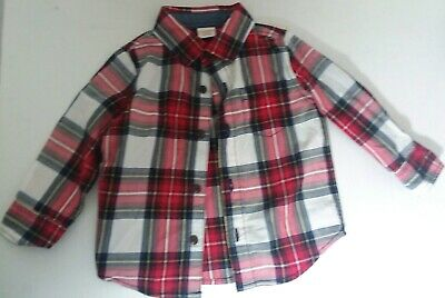 Gymboree Toddler Boys Button Down Shirt Red White Blue Plaid Size 12-18 Months