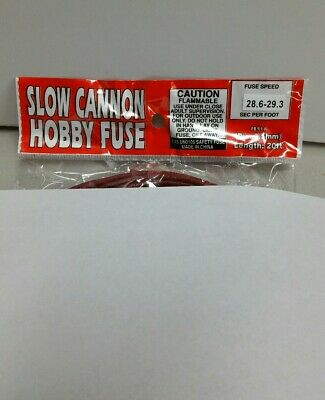 20' Fireworks Slow Cannon Hobby Fuse Label 3.5mm Red 28.6-29.3sec per foot