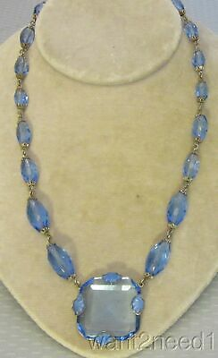 "20s antique art deco BLUE CRYSTAL NECKLACE faceted pendant 18"" silver filigree"
