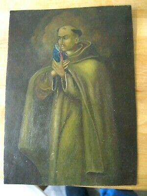 Vintage Retablo On Tin With Image Of A Saint Holding Image Of Virgin Mary