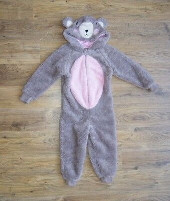 Bear brown pink one piece jumpsuite playsuit with ears for a girl age 2-3 years