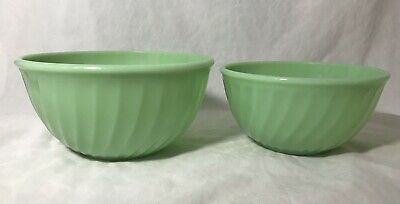 Fire King Jadeite Green Swirl Mixing Bowls 6 And 7