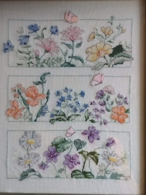 "12.5"" x 15.5"" Counted Cross Stitch - Completed & Framed Floral Piece"