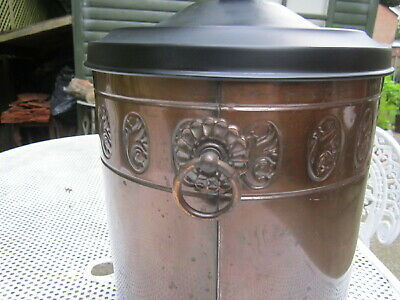 Old Antique Edwardian c1910 Bronze Finish with Black Lid Inner Liner Coal Bucket