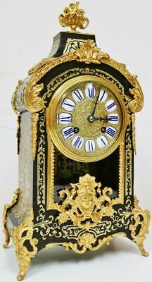 Fine Antique French 8 Day Black Shell Ormolu Inlaid Boulle Bracket Mantel Clock