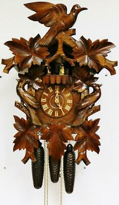 Vintage Triple Weight Musical Automaton Cuckoo Wall Clock  Black Forest 8 Day
