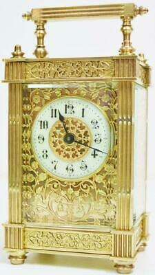 Antique French Carriage Clock 8 Day Brass & Fretwork Panel & Mask Dial Timepiece