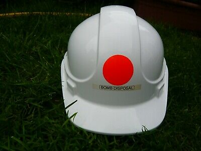 Civilian Industrial Hard Hat Marked Bomb Disposal, Chin Strap, Liner