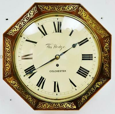 Antique 8Day Fusee Octagonal Inlaid Boulle Dial Wall Clock T Hedge Of Colchester