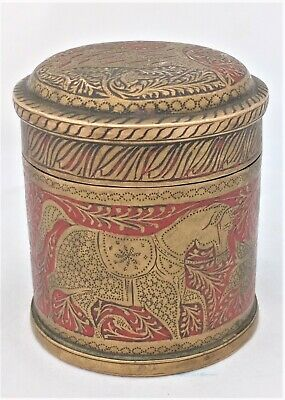 Antique Indian Brass Enamelled Lidded Round Box Engraved Cow Horse Deer c 1900