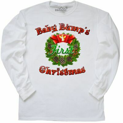 ec86a993e5473 Inktastic Baby Bump's First Christmas Long Sleeve T-Shirt Bump Maternity  Holiday