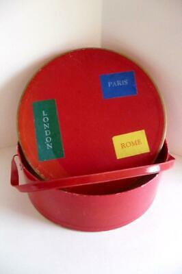 Very Vintage DOLL Child TRAVEL CASE HAT BOX with original RED comb