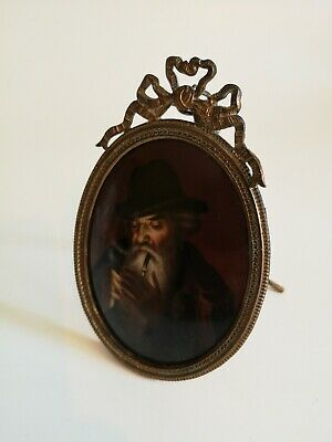 Painted Porcelain Miniature Plaque in Ornate Metal Frame.