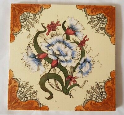 Gorgeous Floral Design Antique 6 Inch Tile Circa 19Th Century