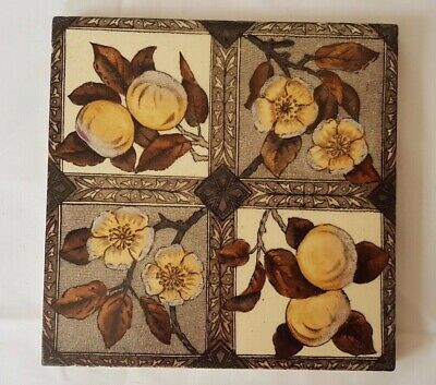 aesthetic FLORAL & FRUIT QUARTER FOIL DESIGN ANTIQUE 6 INCH TILE CIRCA 19TH C