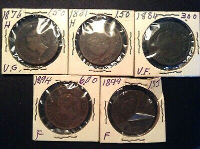 1876 H, 1881 H, 1884, 1894, 1899 Canada Large One Cent Coin Lot Queen Victoria