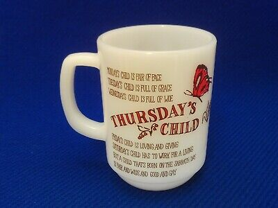 "Vintage Anchor Hocking Fire-King 9oz. ""THURSDAY'S CHILD~HAS FAR TO GO""  Mug"