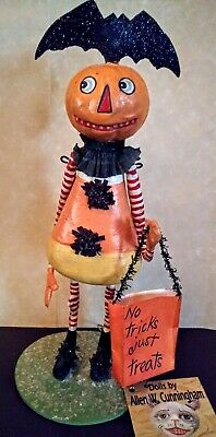 Vtg Halloween Bethany Lowe Allen Cunningham Candy Corn Girl bat Trick Treat bag