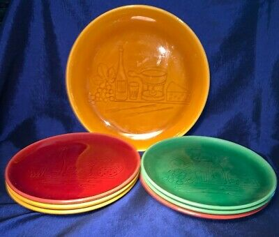Vintage Landert Plates Stoneware Fondue Cheese Wine, Set 6 Small W Serving Plate