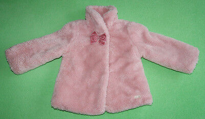 Mayoral Chic pink fur coat jacket with bow for girl age 2 years 92cm 24 months