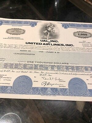 United Airlines Share Certificate Original 1978