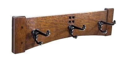 Arts and Crafts 18 Inch 3 Cast Iron Hook Coat Rack