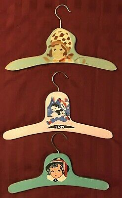 Assorted Vintage Hand Painted Wooden Hangers - Set of 3