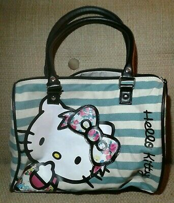 8233baaf2 Loungefly Hello Kitty Blue White Striped Fabric Purse Tote Bag 2013