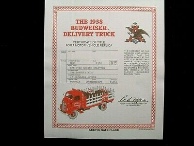 Danbury Mint Title - 1938 Gmc Budweiser Delivery Truck