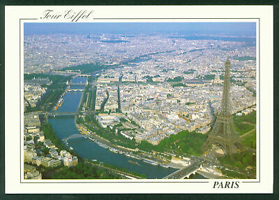 Flying Aerial View Over Paris France Eiffel Tower and River Seine Scene Postcard
