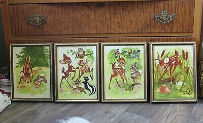 Vintage 1970s Disney Bambi signed Original Oil Painting Set of 4 scenes MCM CA